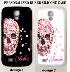 WHITE PINK FLORAL SKULL MONOGRAM PHONE Case For Samsung Galaxy S8 S7 S6 NOTE 8 5 #UnbrandedGeneric