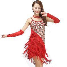 2016 Stage Dance Wear Women Latin Dress Women Latin Costume Dresses Tango Samba Skirts Fringe Dancewear Red Blue  LD030516