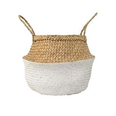 Classic and modern 2 tone woven basket with handles. Round x Seagrass Basket w/ Handles, Natural & White