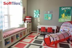 """Seuss """"Cat in the Hat"""" themed children's playroom using SoftTiles Die-cut Squares Interlocking Foam Tiles. SoftTiles Foam Mats turn hard surfaces into soft, comfortable play areas! Playroom Flooring, Foam Flooring, Playroom Decor, Playroom Ideas, Playroom Design, Nursery Ideas, Foam Floor Tiles, Floor Mats, Childrens Play Mat"""