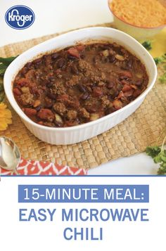 Learn how to prepare this easy Microwave Chili recipe like a pro. With a total time of only 13 minutes, you'll have a delicious dinner ready before you know it. Chili Recipes, Mexican Food Recipes, Baking Recipes, Stewed Tomatoes, 15 Minute Meals, Slow Cooker Chili, Kidney Beans, Fall Weather