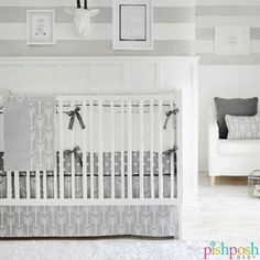 Wanderlust is a gender-neutral set from @newarrivalsinc that pairs whimsical white arrows on grey skirt with polka dot crib sheet. Works well in any nursery, transitions to toddler/child gorgeously! 2-pc set - $134.00. Shop our entire New Arrivals collection on our site!   http://www.pishposhbaby.com/new-arrivals-inc-wanderlust.html