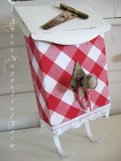 Vintage Upcycled Mailbox  Red Check Gingham by SweetMagnoliasFarm, $42.00