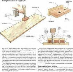 DIY Shelf Pin Jig - Drill Press Tips, Jigs and Fixtures Other Woodworking Tips and Techniques - My Wood Crafting Woodworking Basics, Woodworking Techniques, Woodworking Furniture, Fine Woodworking, Woodworking Projects, Woodworking Organization, Woodworking Magazine, Woodworking Workbench, Wood Projects