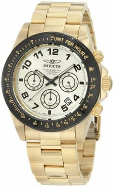 Invicta Men's 10703 Speedway Chronograph Gold Dial 18k Gold Ion-Plated Stainless Steel Watch Invicta. $82.08. Water-resistant to 200 M (660 feet). Japanese quartz movement. Chronograph functions with 60 second, 60 minute and 24 hour subdials; date function. Mineral crystal; brushed and polished 18k gold ion-plated stainless steel case and bracelet. Champagne dial with black hands, hour markers and arabic numerals; luminous; black bezel with tachymeter scale; 18k gold ion-pla...
