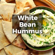 Classic White Bean Hummus is thick and ultra-creamy with delicate garlic heat, earthy parsley, silky tahini and zesty le White Bean Hummus, White Bean Dip, White Beans, Greek Recipes, Raw Food Recipes, Vegetarian Recipes, Healthy Recipes, Soup Recipes, Hummus Recipe With Tahini