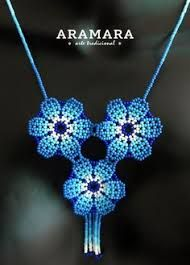 Mexican Huichol Beaded Blue Flower Necklace by Aramara Diy Necklace Patterns, Crochet Necklace Pattern, Beaded Jewelry Designs, Handmade Jewelry, Jewelry Party, Jewelry Crafts, African Necklace, Mexican Jewelry, Bead Embroidery Jewelry