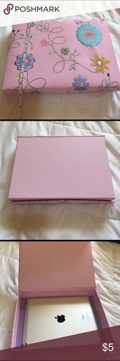 📦Embroidered box Cute pink girly box that I kept my iPad in. In great condition. 11x8x2. Has a magnetic closure and purple velvety inside. Great for keepsakes. Make a posh crate 📦📦📦. Five $5 items for $10!!!! Accessories