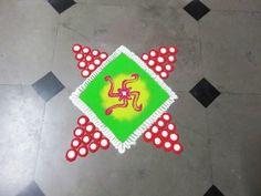 how to make swastik in square rangoli design created by rangoli design - YouTube
