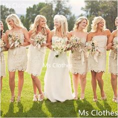 Can be ordered in light gray :) Cheap Custom Made Short Strapless Lace Bridesmaid Dresses, Bridesmaid Gowns, Wedding Party Dresses