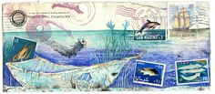 Postcard made from my original mail art made from vintage stamps, original gouache illustrations, and vintage envelopes. Professionally printed on nice,