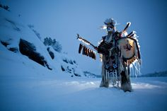 "Aboriginal warrior, dancer, and former US Marine sniper Danny Boy Stephens.  ""Snow Warrior"" by Dave Brosha"