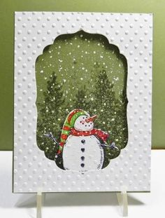 Snow Fun by jandjccc - Cards and Paper Crafts at Splitcoaststampers by imacraftaddict Homemade Christmas Cards, Christmas Cards To Make, Xmas Cards, Handmade Christmas, Homemade Cards, Holiday Cards, Christmas Christmas, Snowman Cards, Window Cards