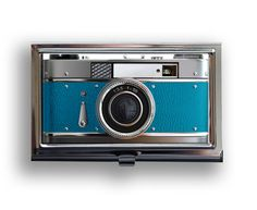 Business Card Vintage Style Teal Camera Metal Case Fits Business, Credit, Debit and Gift Cards. $17.50, via Etsy.