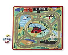 Melissa and Doug Round the Town Road Rug and Car Activity Play Set With 4 Wooden Cars x 36 inches) ** See this great product. (This is an affiliate link and I receive a commission for the sales) Car Activities, Rail Train, Wooden Car, Thing 1, Melissa & Doug, Car Set, Disney Cars, Woven Rug, Floor Mats