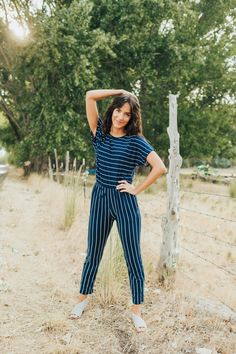 Blue and White Striped Jumpsuit Rounded Neckline Short Sleeves Cinched Waist Buttons in back Black Long Sleeve Playsuit, White Playsuit, Black Romper, Jean Romper, Frock Dress, Jumpsuit Dress, The Dress, Jumpsuits For Girls, Rompers Women