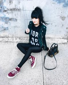 Got some new vans and had to pair them with my fav jacket of course. Shooting a bunch of new looks for you guys today 🙂 💕 Edgy Outfits, Grunge Outfits, Grunge Fashion, Cool Outfits, Girl Fashion, Fashion Outfits, Womens Fashion, Fashion Top, Alternative Outfits