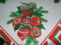 Vintage Christmas Yuletide Tablecloth Greek Key Accents Ornaments Bells More | eBay