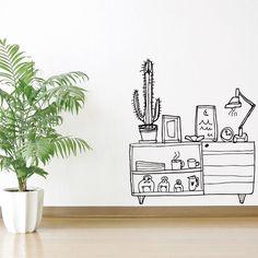 Vinilo Aparador con cactus by Carrmen para Chispum