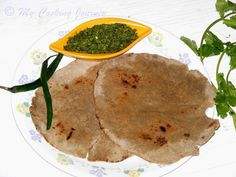 Bajyrya Bhakri and Harvi Mirchi Thecha from Maharashtra – A healthy flatbread made with Bajra (Pearl Millet) and Spicy Green Chili chutney