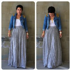 Beautiful!! Maxi skirt, White shirt, denim spiked jacket!! So Me..<3