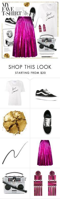 """Dress Up a T-Shirt"" by bklana ❤ liked on Polyvore featuring Yves Saint Laurent, Vans, Pat McGrath, Madonna, Stila, Gucci, Dolce&Gabbana, Lele Sadoughi, Clarins and bklana"