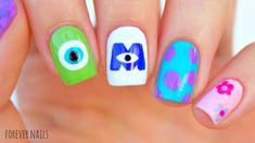 "Disney monsters inc nails "" disney nails in 2019 nailart, pe Disney Nail Designs, Red Nail Designs, Diy Nails, Cute Nails, Nail Manicure, Diy Vernis, Monster Inc Nails, Monster University Nails, Disney Acrylic Nails"