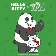 Hello Kitty x We Bare Bears Hello Kitty Characters, Sanrio Characters, Bear Wallpaper, Hello Kitty Wallpaper, We Are Bears, Hello Kitty Christmas, Merry Christmas, Hello Kitty Imagenes, Hello Kitty Art
