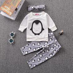 Baby Girl Set With Long Sleeved T-Shirt+Pants+Headband