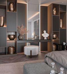 """عصر الاحتراف للديكور on Twitter: """"افكار مميزه لتصميم التسريحه 🌸… """" Hotel Bedroom Design, Master Bedroom Interior, Room Ideas Bedroom, Home Room Design, Living Room Designs, Bedroom Decor, Showroom Interior Design, Contemporary Interior Design, Modern Luxury Bedroom"""