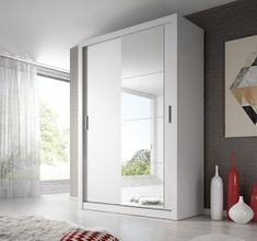 Brand New Modern Bedroom Mirror Sliding Door Wardrobe ARTI 4 in White Matt 4 Door Wardrobe, White Wardrobe, Sliding Wardrobe Doors, Mirrored Wardrobe, Bedroom Wardrobe, Sliding Doors, Ikea Wardrobe, Simple Wardrobe, Cheap Wardrobes