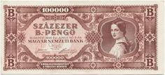 100000 B.-Pengö 1946 (Mädchen in Tracht) Ungarn Zweite Republik