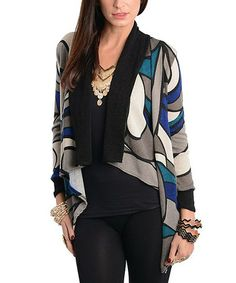 Blue & Gray Abstract Open Cardigan