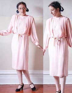 VTG 70's Peach Chiffon  Lace Draped Angelic DRESS by sideshowsam, $44.00