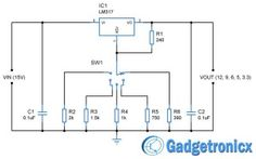 12V 9V 6V 5V & 3.3V  multiple voltage power supply circuit