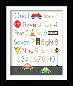 123 Car Themed Nursery Print in a 8 x 10 Digital by AmyRoseDesigns, $15.00