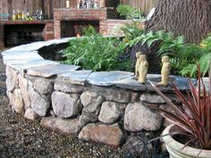 Classy slate tops off this stone wall, with concealed mortar holding everything together for outdoor seating everyone can get comfortable with. Description from pinterest.com. I searched for this on bing.com/images