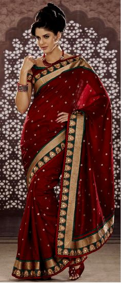 #Red Bhagalpuri #Silk #Saree with Blouse @ $97.64 | Shop Here: http://www.utsavfashion.com/store/sarees-large.aspx?icode=skk13575b