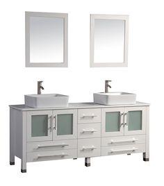 MTD+Malta+(double)+71-Inch+White+Modern+Bathroom+Vanity+Set
