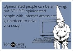 Opinionated people can be annoying, but STUPID opinionated people with internet access are guaranteed to drive you crazy!