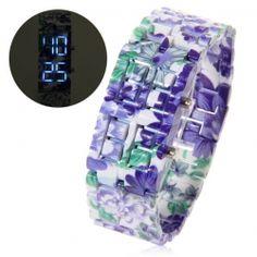 Stylish  Rectangle Dial Wristband Blue LED Quartz Wrist Watch for Unisex - Green Colorful