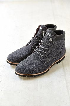 Grey Wool Tweeded Herringbone Lace Up Boots, the 'Beebe', by Woolrich. Men's Fall Winter Fashion.
