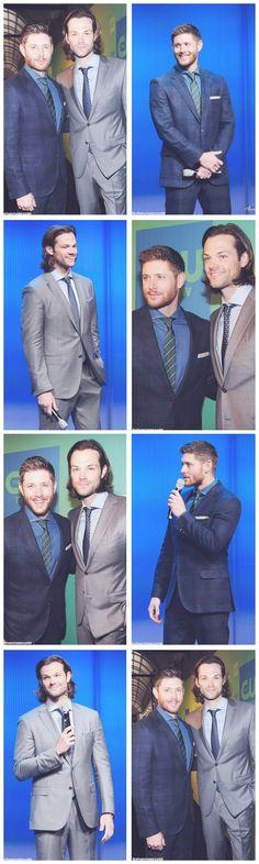 """ Jensen Ackels & Jared Padalecki at the CW Upfront "" Jensen Ackles Jared Padalecki, Jensen And Misha, Winchester Boys, Winchester Brothers, Cw Series, Bae, Supernatural Fans, Star Wars, Destiel"