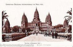 TEMPLE D'ANGKOR VAT PARIS INTERNATIONAL EXPOSITION VINTAGE 1930s POSTCARD