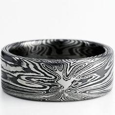 Titanium Mokume Ring with Black Zirconium by MokumeDamascusRings, $345.00