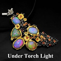 SPECIAL ITEM! HANDMADE NATURAL FULL FLASH FIRE OPAL-SAPPHIRE 925 SILVER NECKLACE #Handmade #Pendant