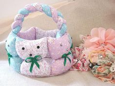 Cute cats fabric basket..