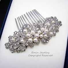 Wedding Hair Accessories,Bridal Hair Combs. Pearl Rhinestone Crystal Vintage Style Wedding Hair Pieces Fascinator Hair Vine H1034