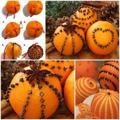 Weihnachtsschmuck basteln orangen mit nelken knospen