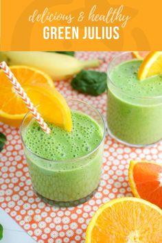 Green julius: healthy orange julius recipe super healthy kids food and drin Super Healthy Kids, Healthy Meals For Kids, Kids Meals, Healthy Snacks, Healthy Recipes, Healthy Drinks, Vitamix Recipes, Blender Recipes, Healthy Juices